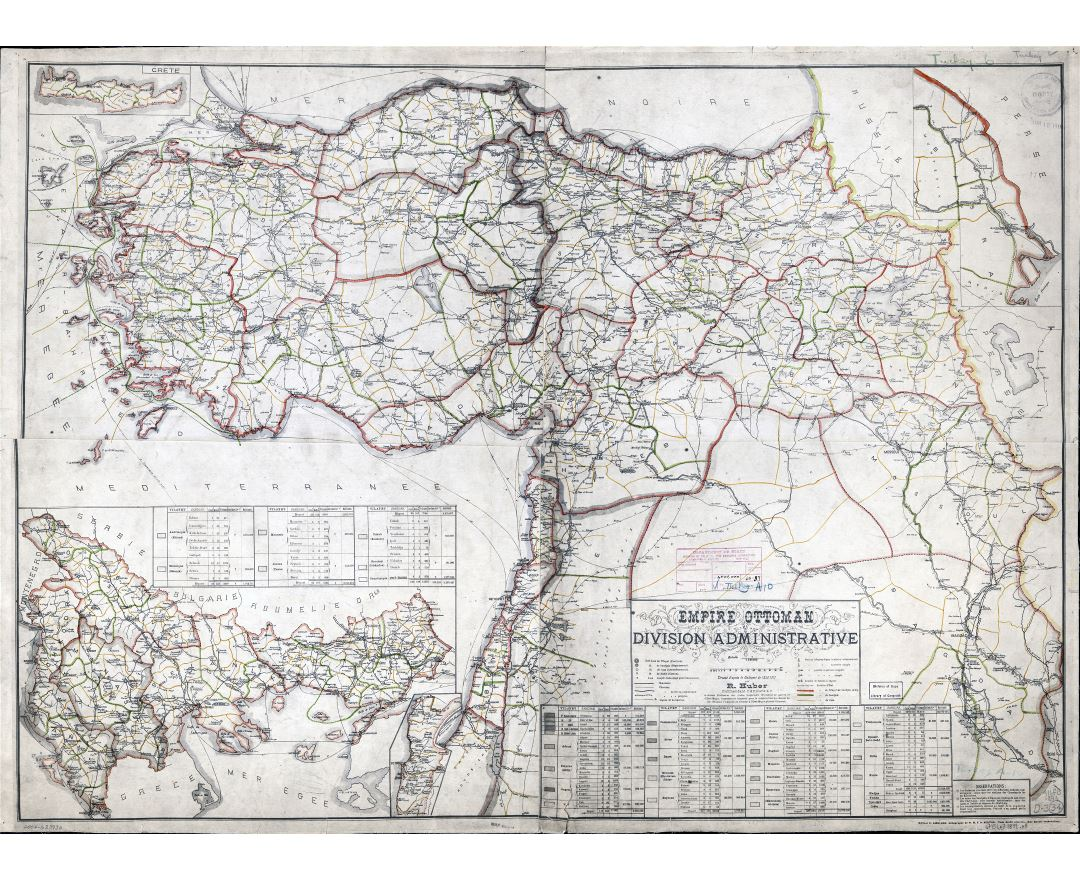 Large scale detailed old administrative divisions map of Ottoman Empire - 1899