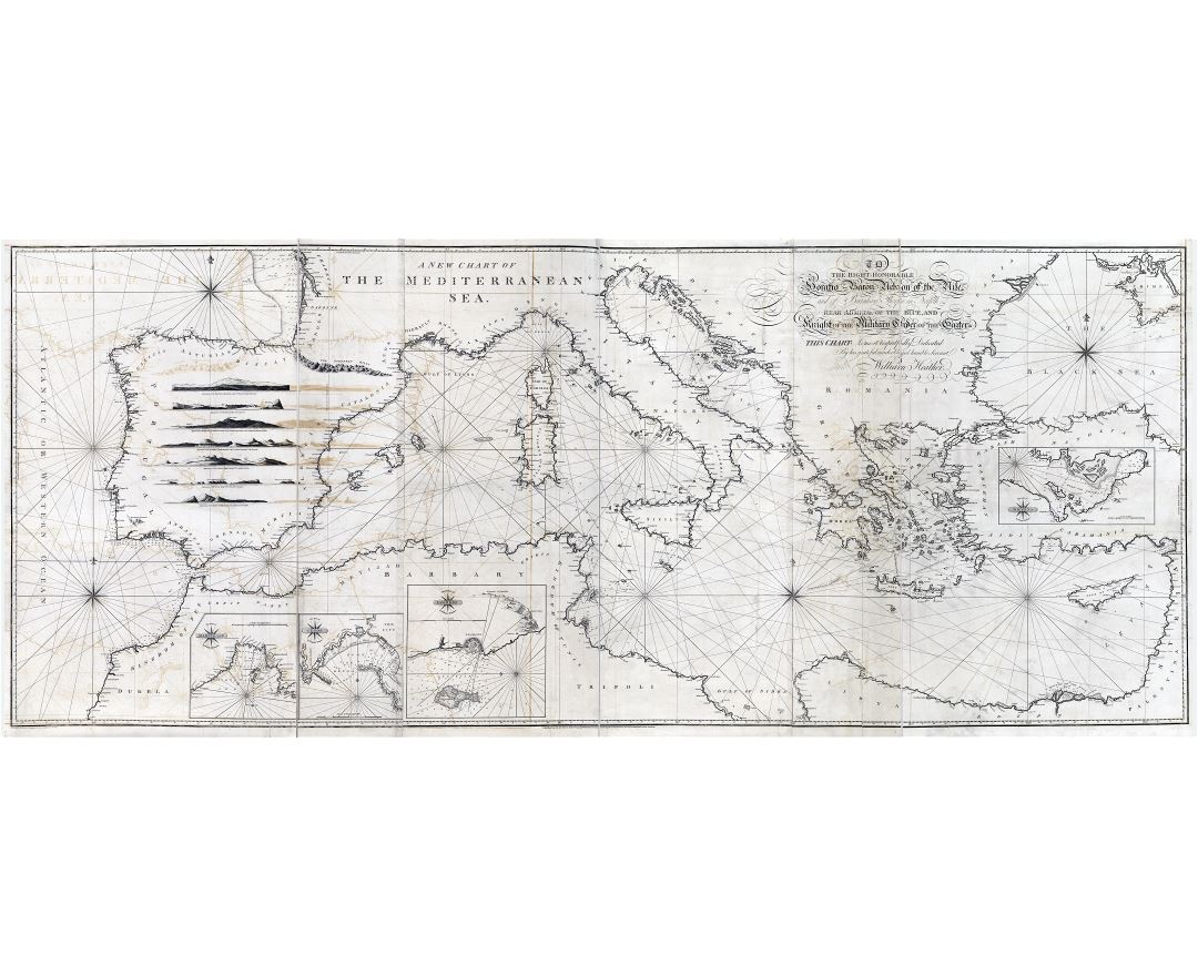 Large scale detailed old antique map of Mediterranean Sea - 1797