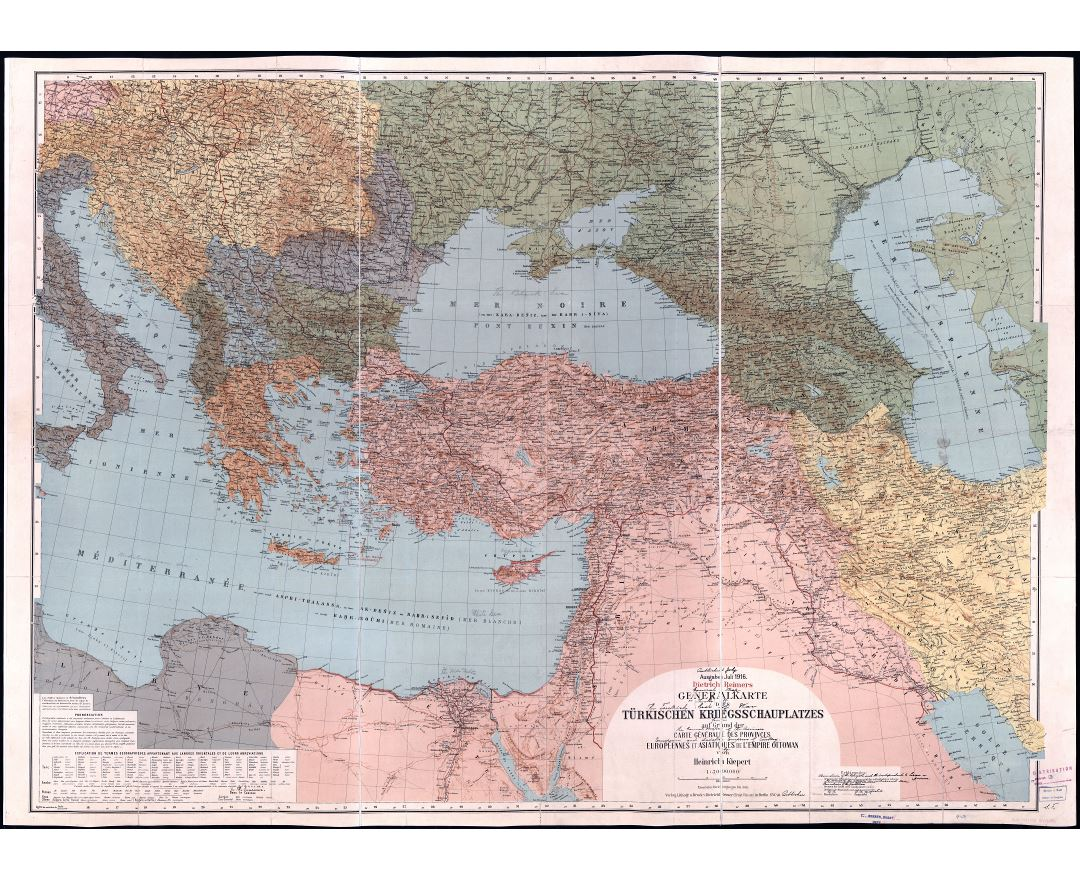 Large scale detailed old political map of Turkey and neighboring countries with relief, cities and other marks - 1916