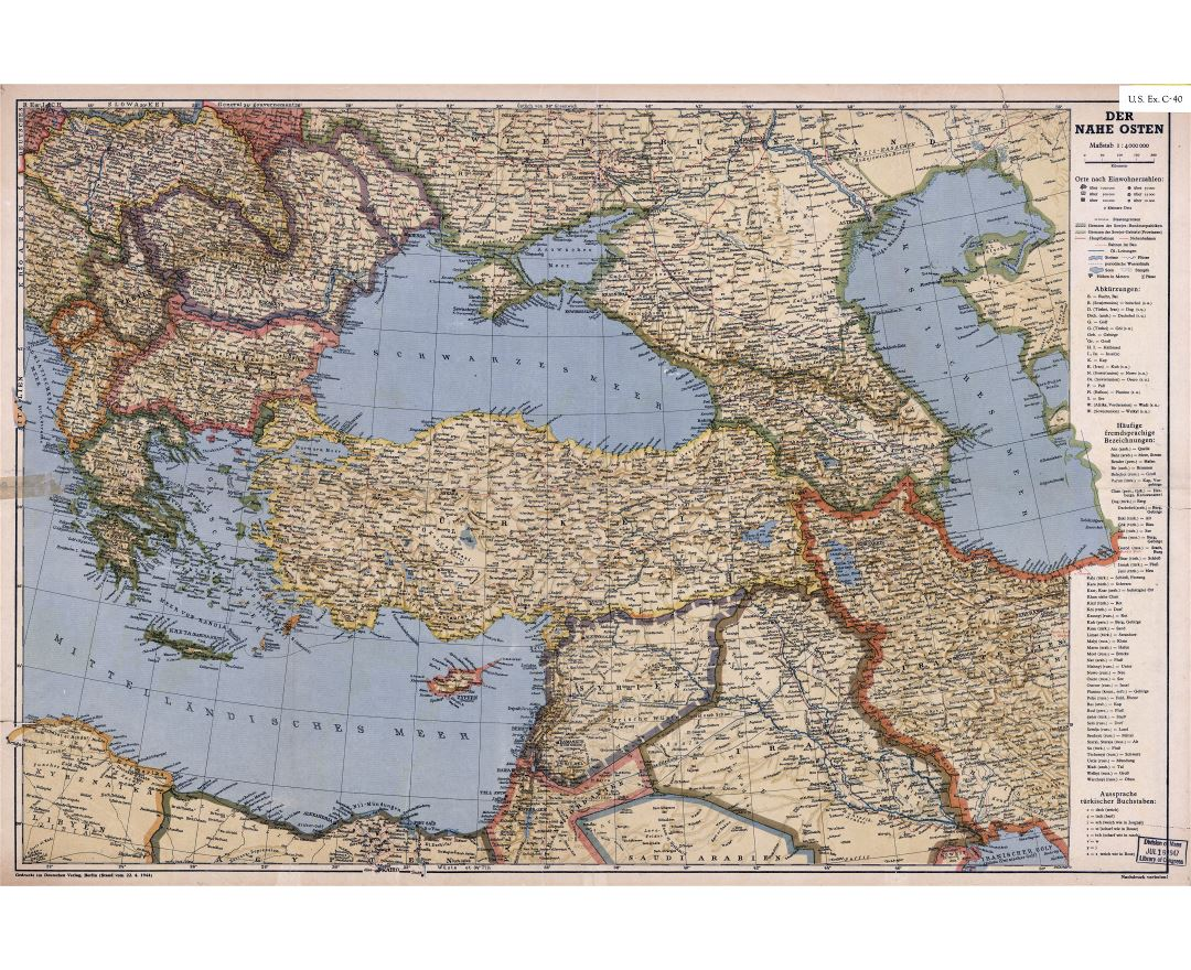 Large scale detailed old political map of Turkey and neighboring countries with relief, cities and other marks - 1944