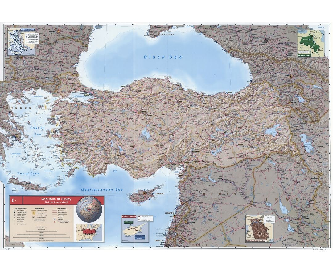 Large scale detailed political and administrative map of Turkey with relief, roads, railroads, all cities, ports and airports - 2002