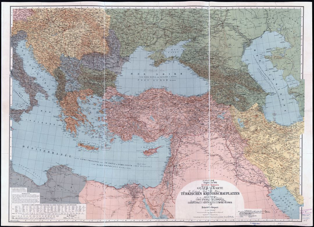 Large scale old political map of Turkey and neighboring countries with relief, cities and other marks - 1916