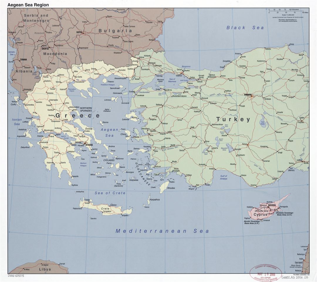Large scale political map of Aegean Sea Region with roads, railroads and major cities - 2006