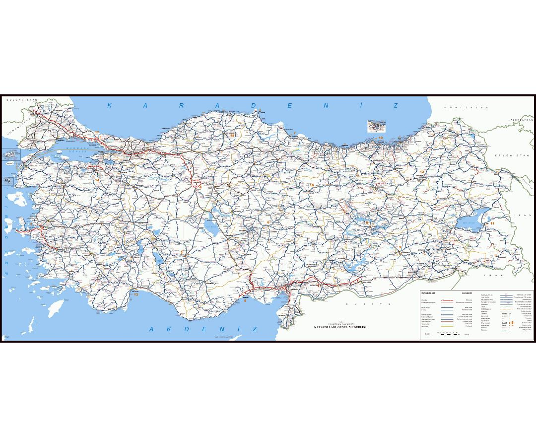 Large scale road map of Turkey with all cities