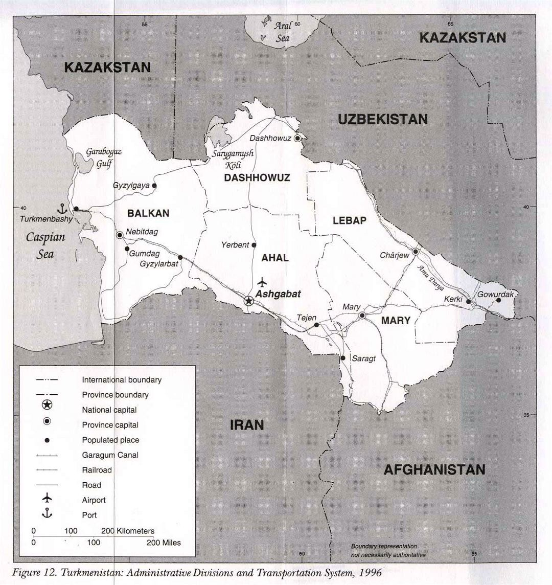 Detailed administrative divisions and transportation system map of Turkmenistan - 1996