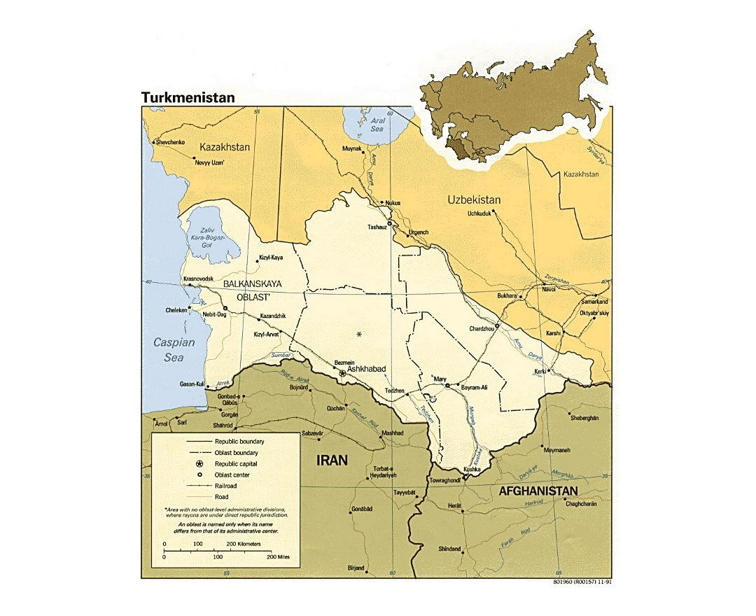 Maps of turkmenistan detailed map of turkmenistan in english detailed political and administrative map of turkmenistan with roads railroads and major cities 1991 sciox Image collections