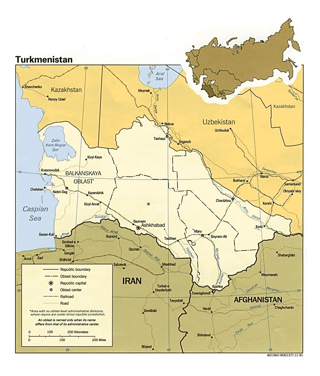 Detailed political and administrative map of Turkmenistan with roads, railroads and major cities - 1991