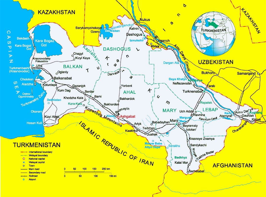 Detailed political map of Turkmenistan with other marks