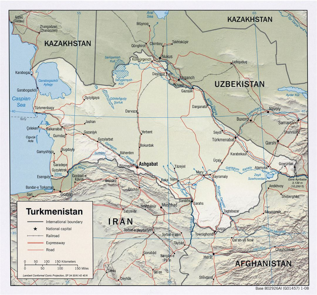 Detailed political map of Turkmenistan with relief, roads, railroads and major cities - 2008