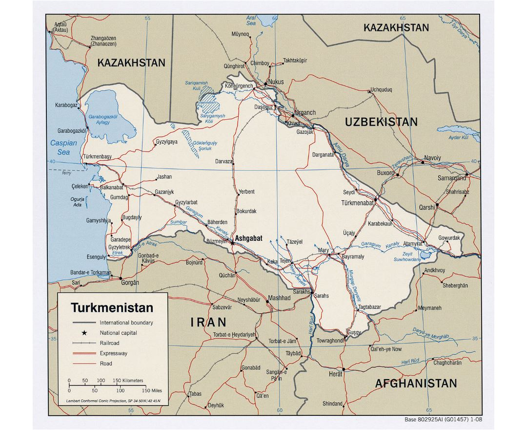 Maps of turkmenistan detailed map of turkmenistan in english detailed political map of turkmenistan with roads railroads and major cities 2008 sciox Image collections