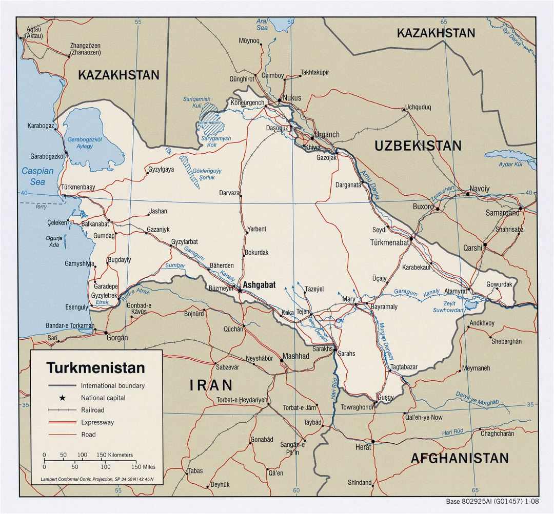 Detailed political map of Turkmenistan with roads, railroads and major cities - 2008