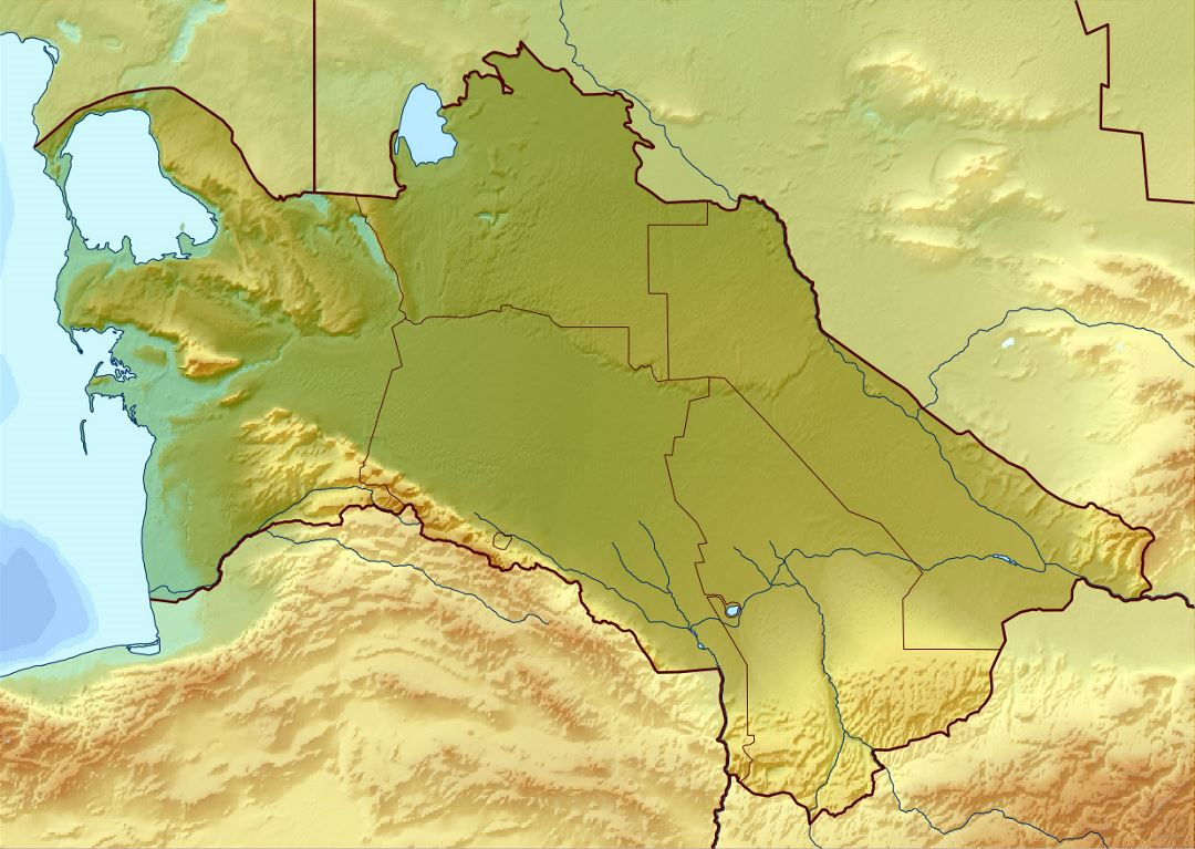 Detailed relief map of Turkmenistan