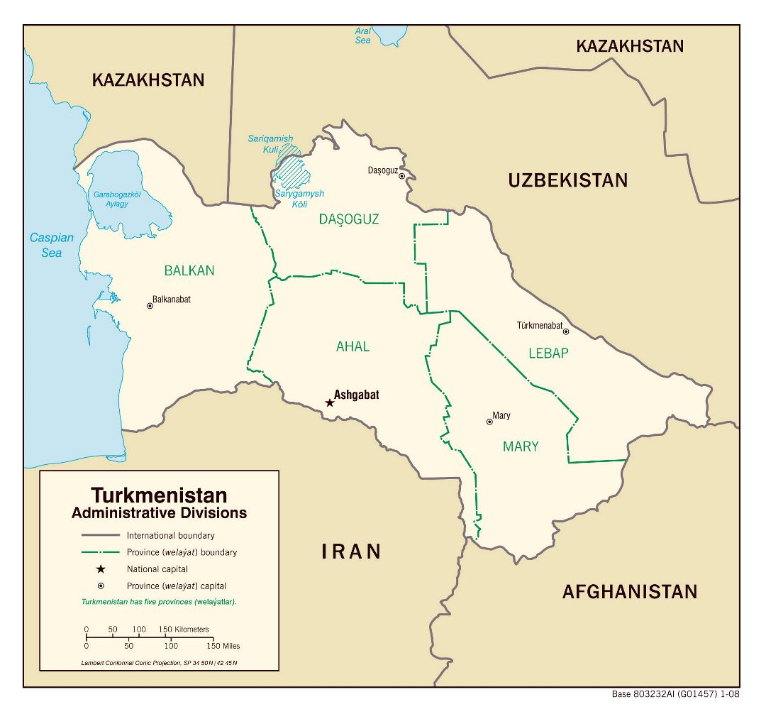 Large administrative divisions map of Turkmenistan - 2008