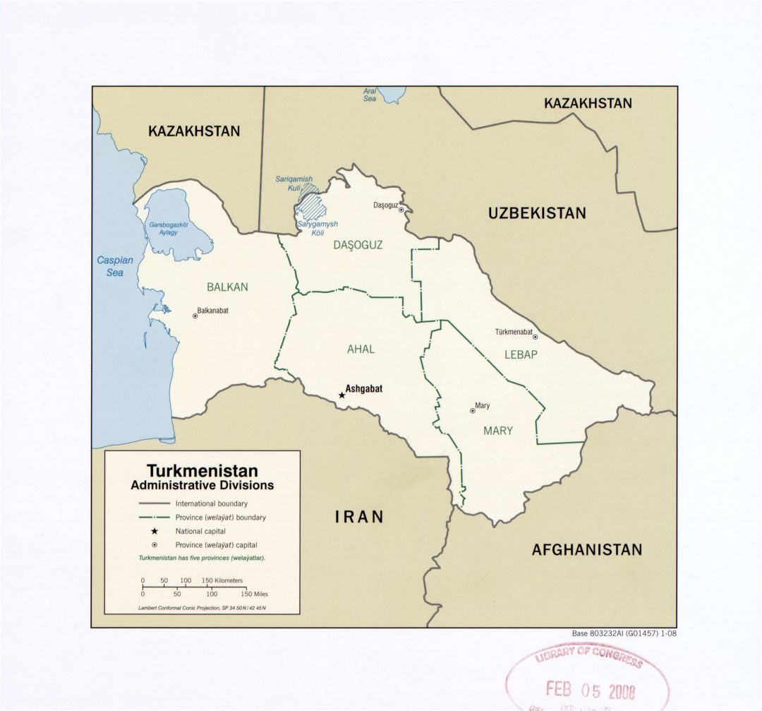 Large detailed administrative divisions map of Turkmenistan - 2008