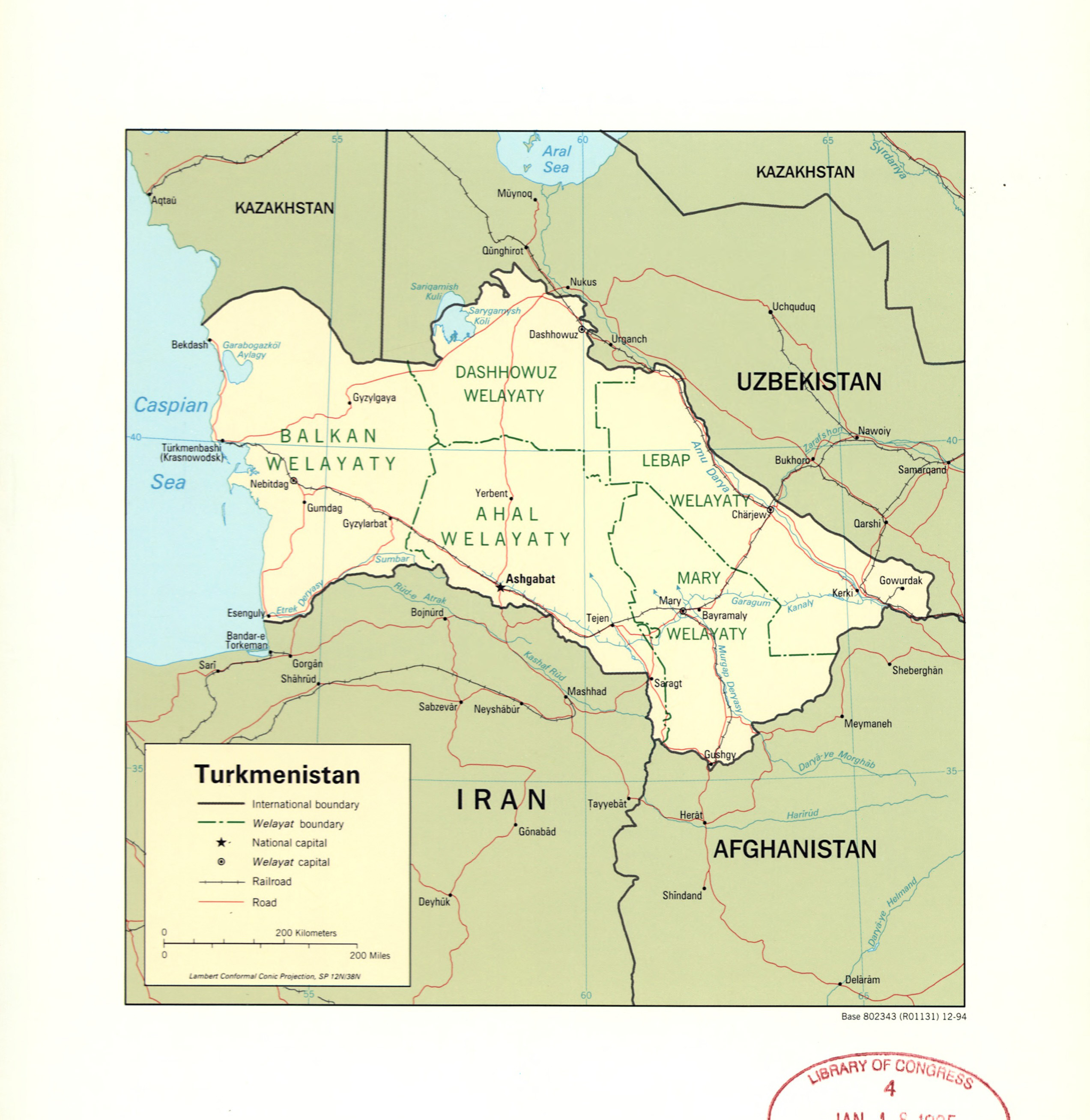 Large detailed political and administrative map of Turkmenistan with