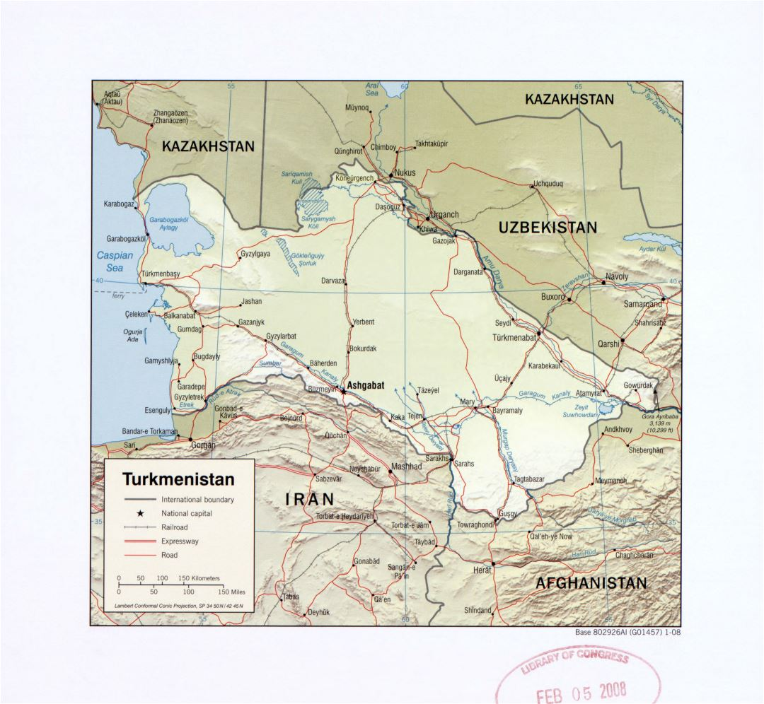 Large detailed political map of Turkmenistan with relief, roads, railroads and major cities - 2008