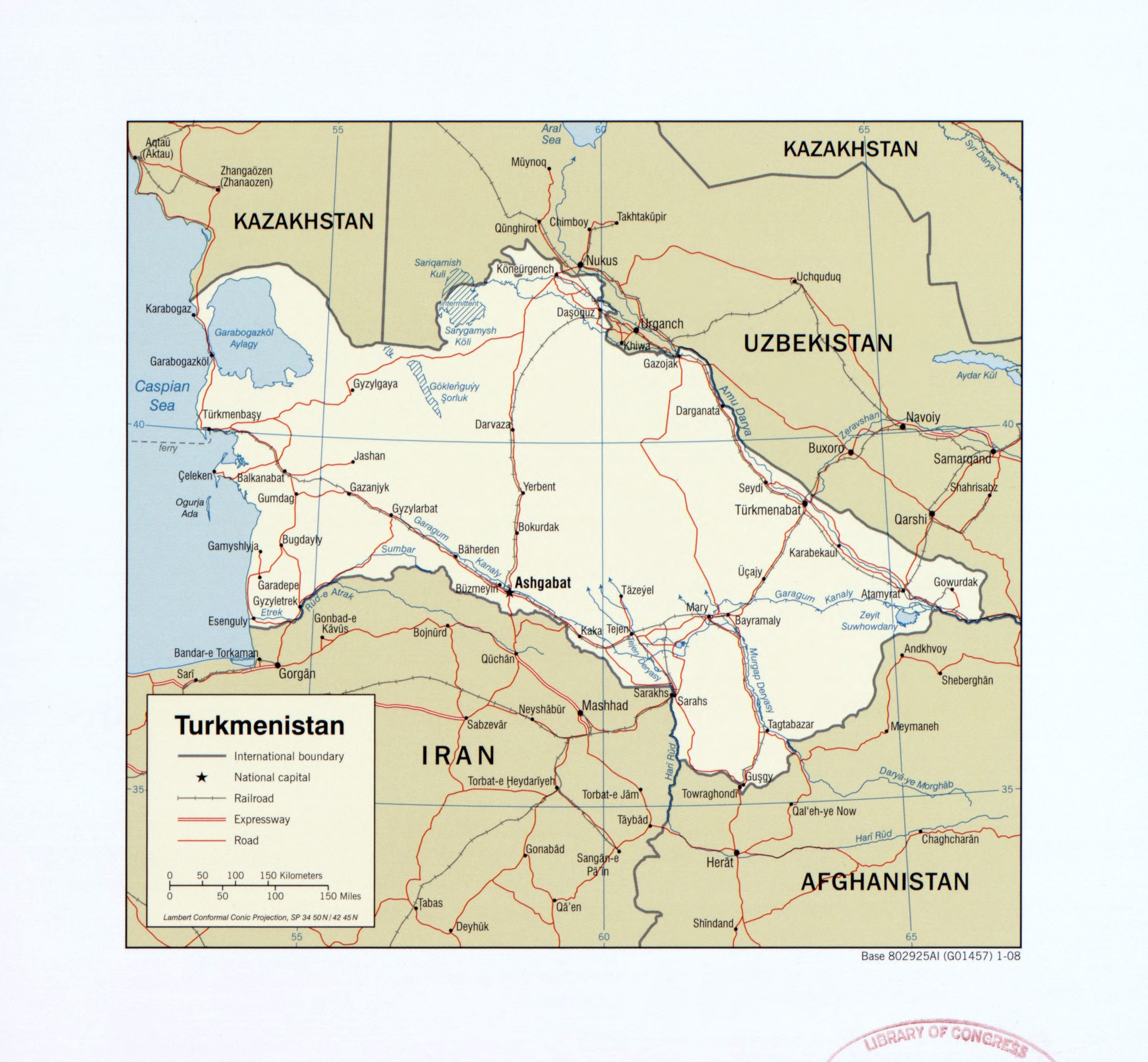 Large detailed political map of Turkmenistan with roads railroads