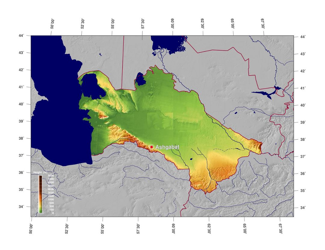 Large elevation map of Turkmenistan