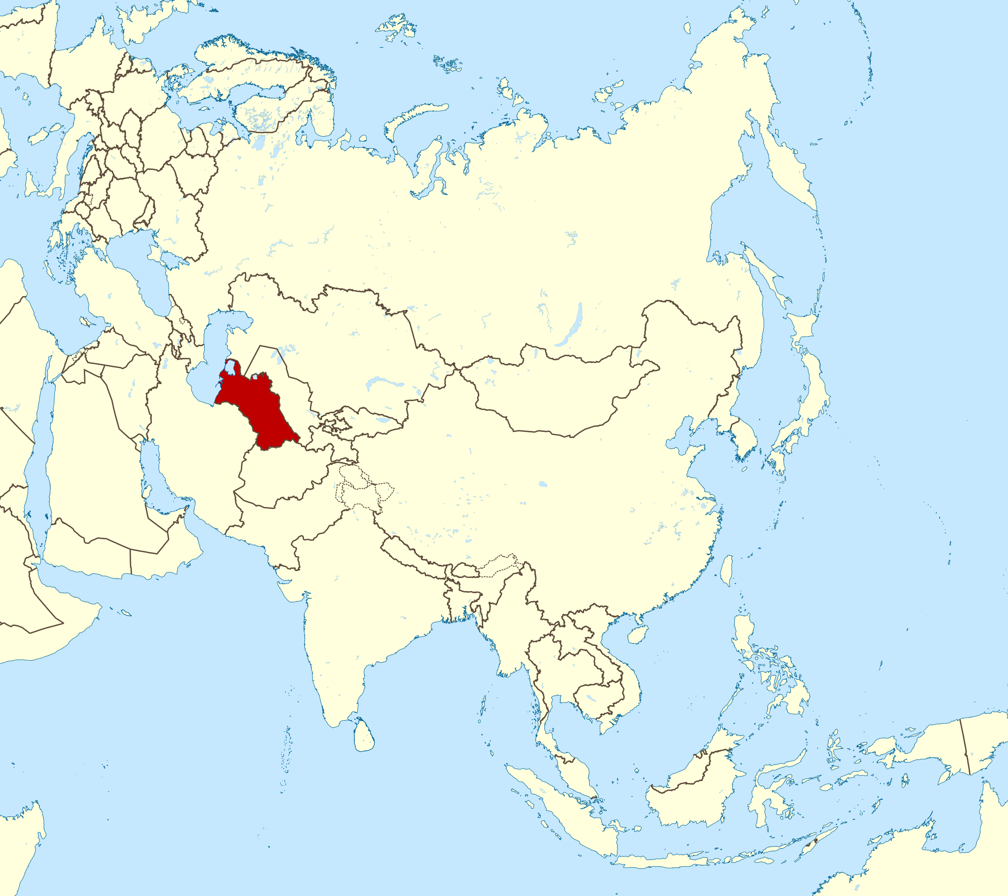 Large location map of Turkmenistan in Asia Turkmenistan Asia