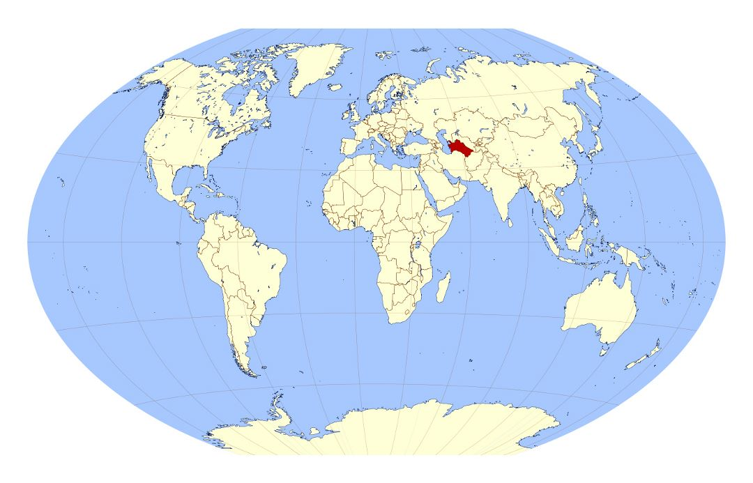 Large location map of Turkmenistan in the World