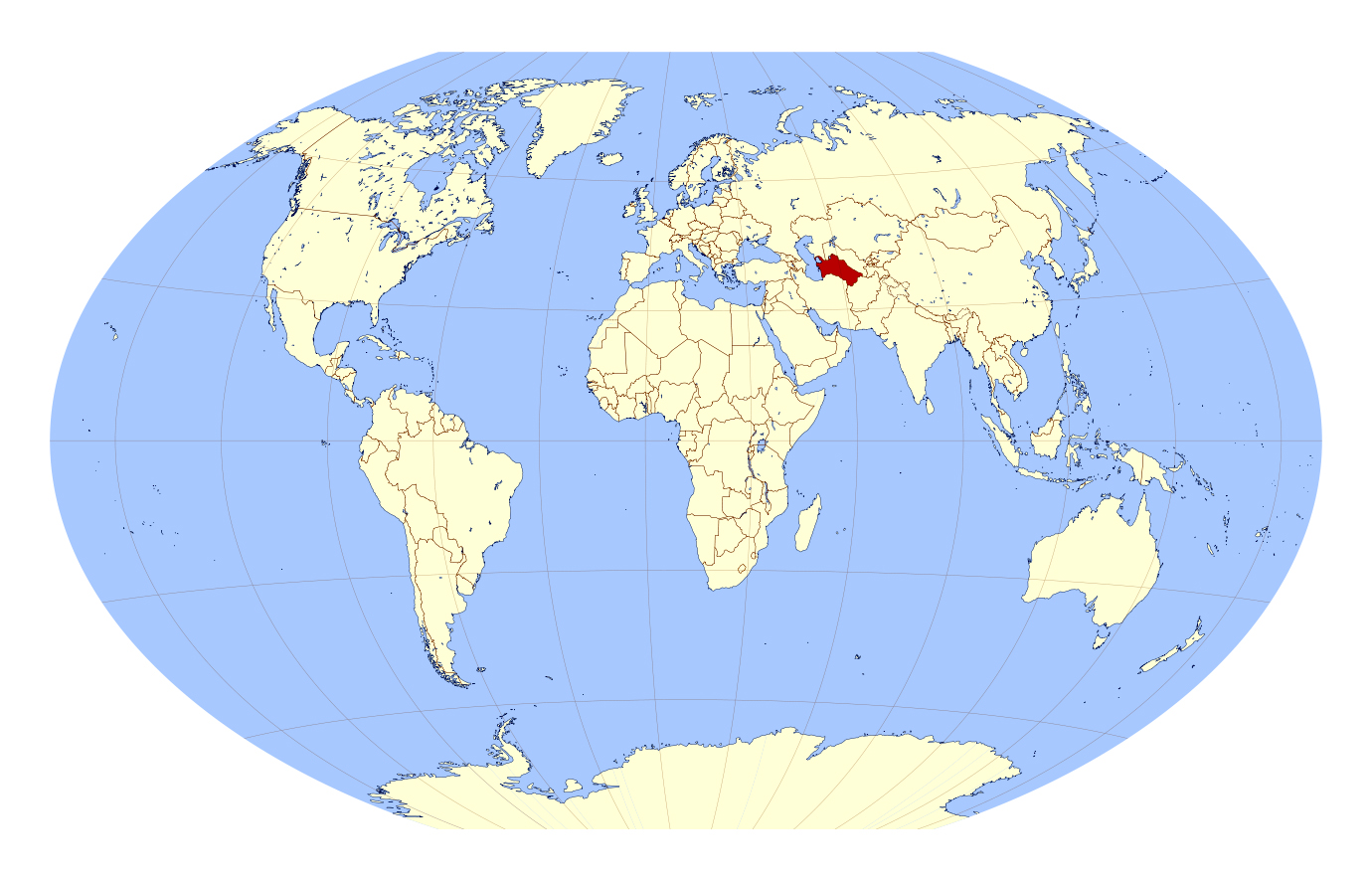 Large location map of Turkmenistan in the World Turkmenistan