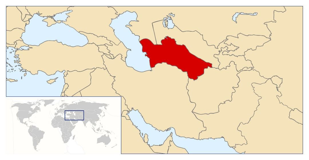Large location map of Turkmenistan