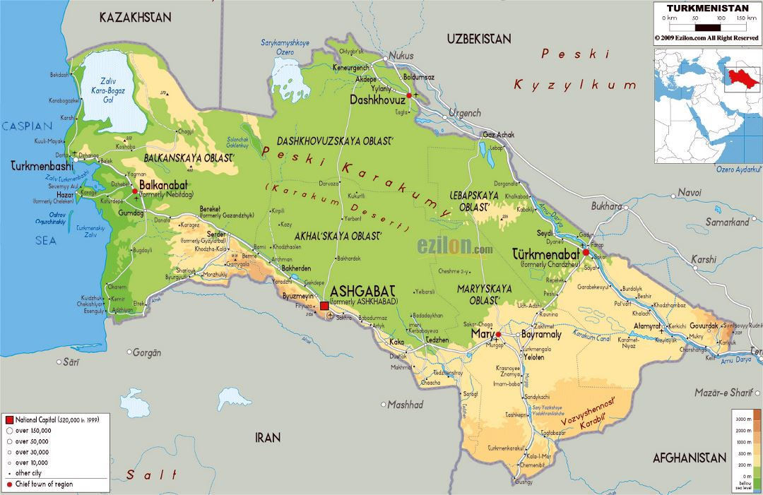 Large physical map of Turkmenistan with roads, cities and airports