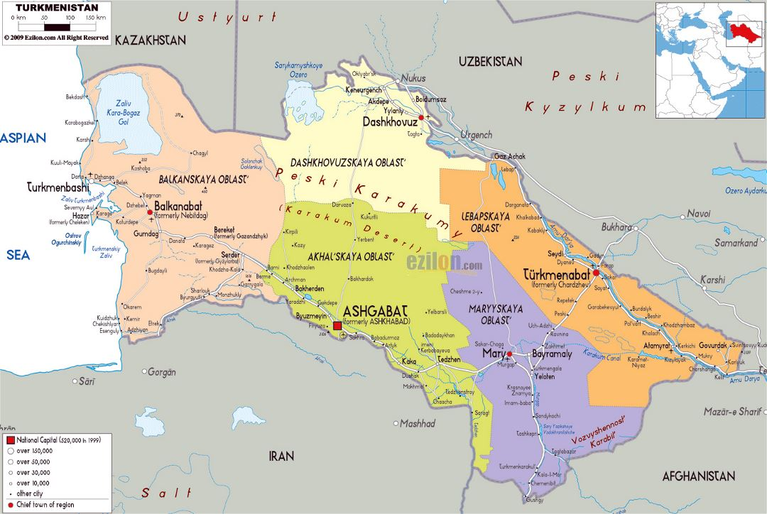 Large political and administrative map of Turkmenistan with roads, cities and airports