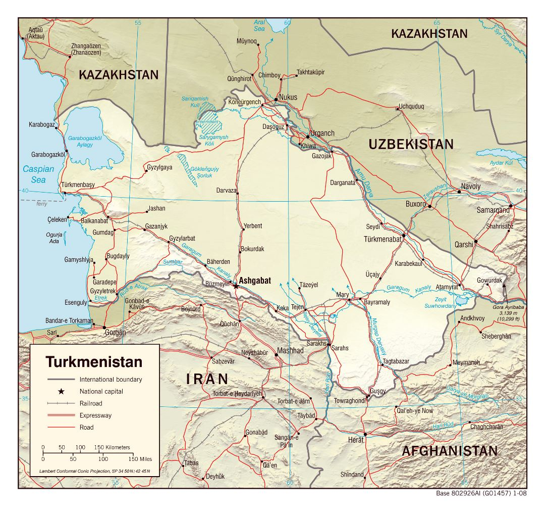 Large political map of Turkmenistan with relief, roads, railroads and major cities - 2008