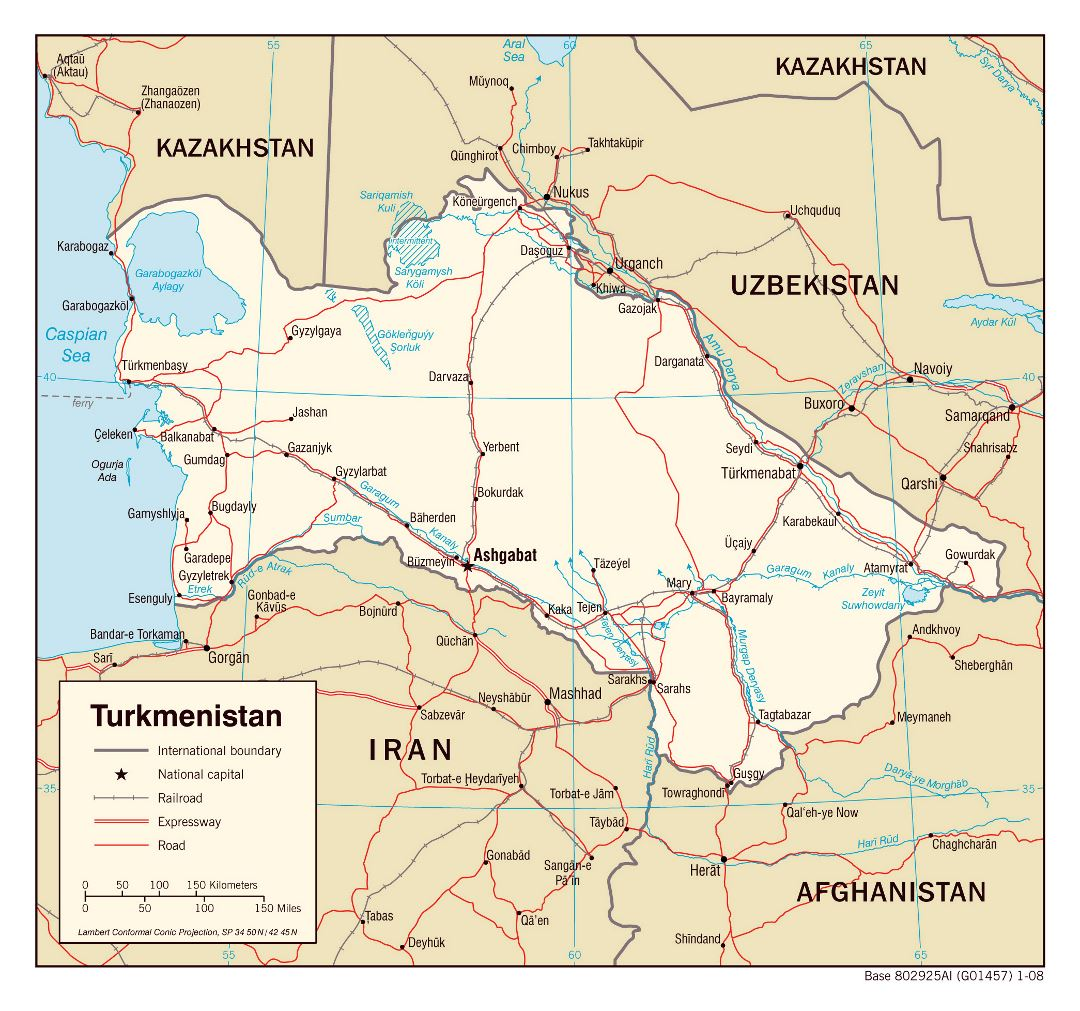 Large political map of Turkmenistan with roads, railroads and major cities - 2008