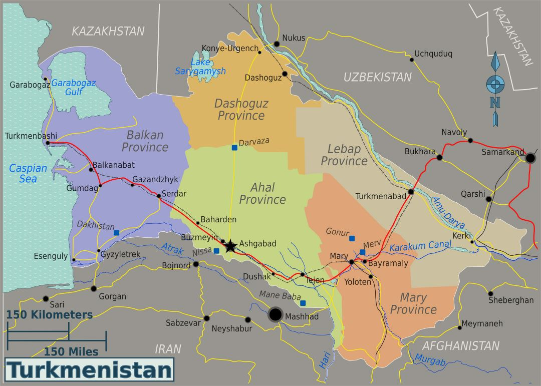 Large regions map of Turkmenistan
