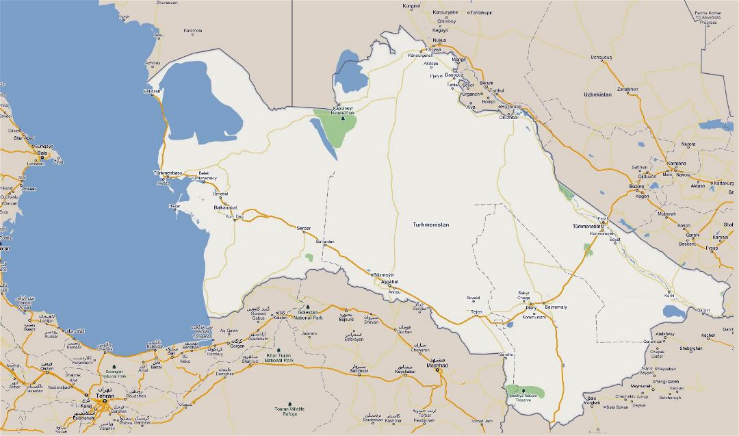 Large road map of Turkmenistan with national parks and cities