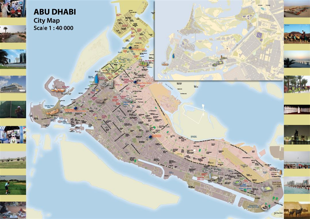 Large detailed map of Abu Dhabi city