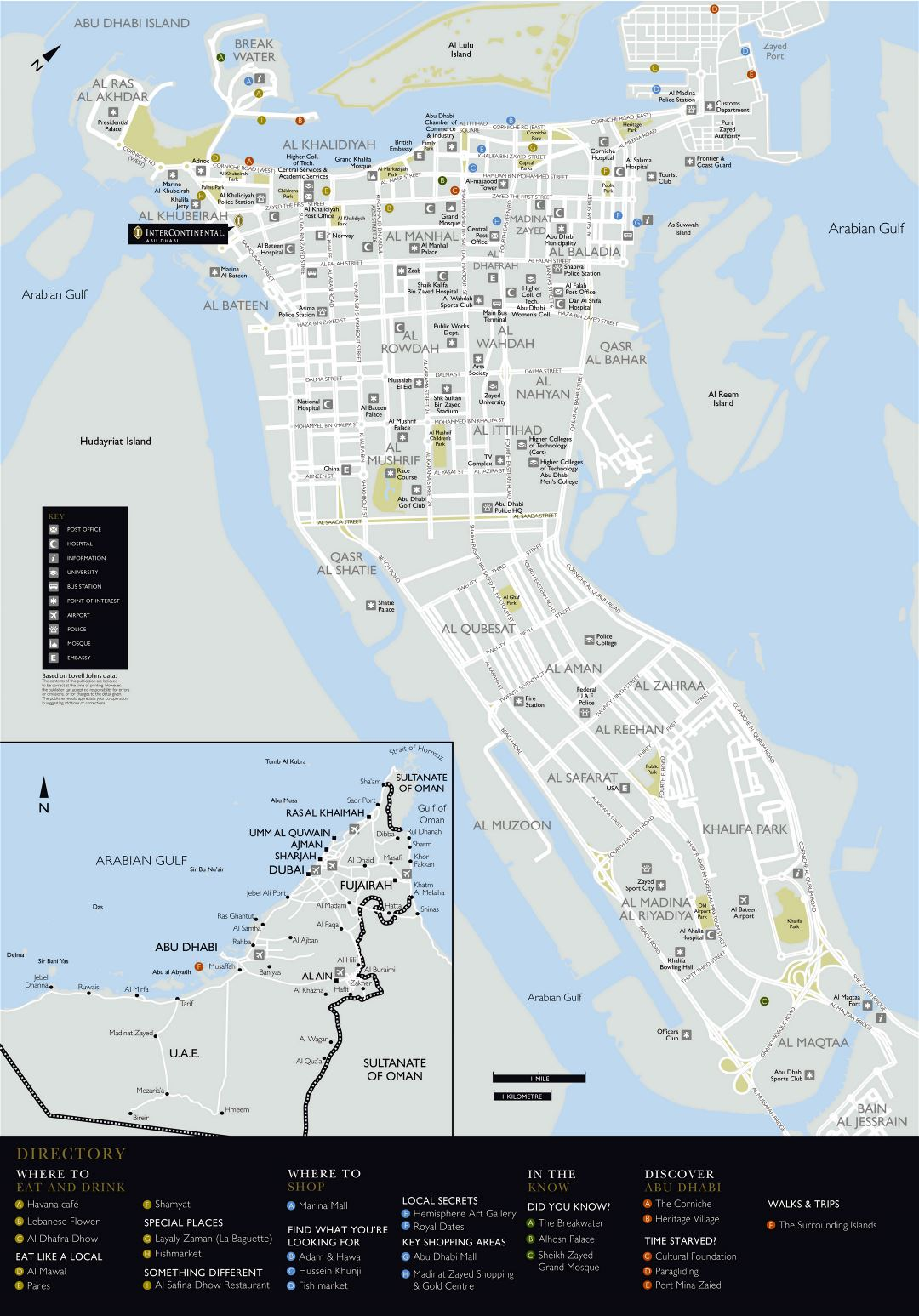 Large detailed road and tourist map of Abu Dhabi city