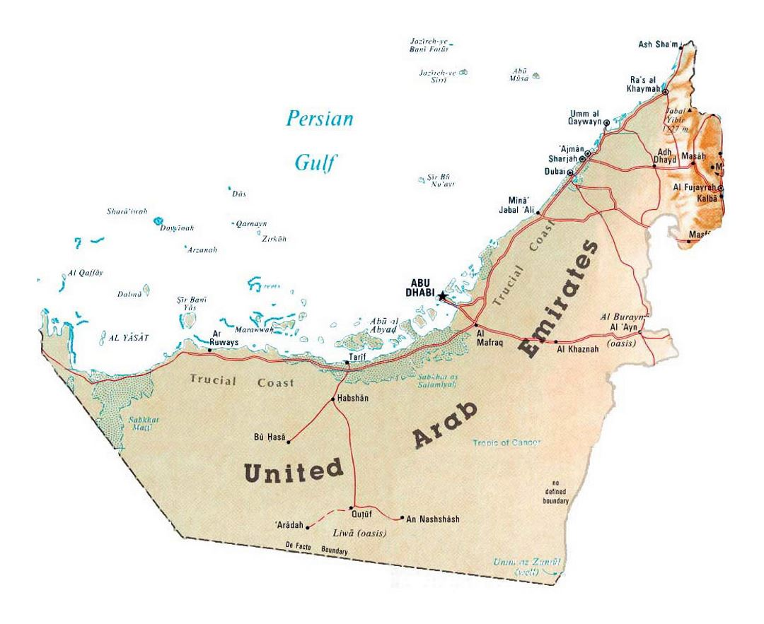 Detailed map of UAE with relief and other marks