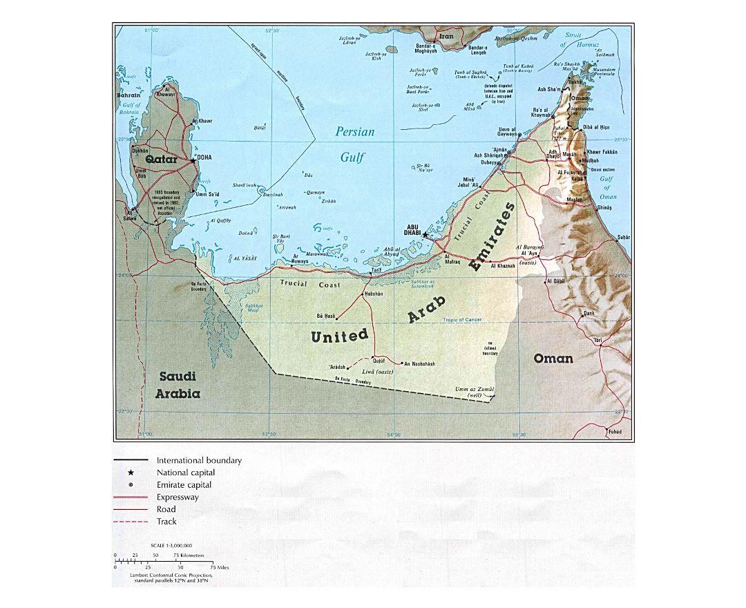 Maps of UAE Detailed map of United Arab Emirates in English