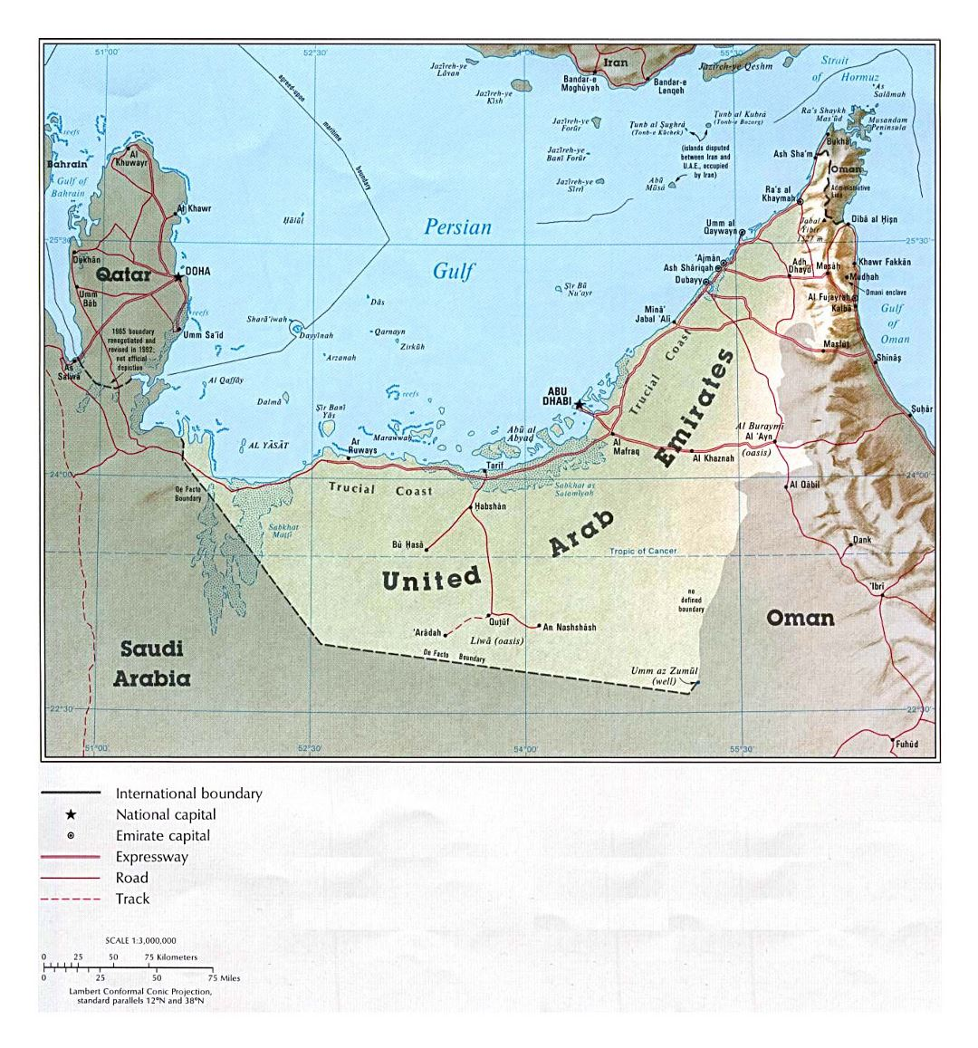 Detailed political map of UAE with relief, roads and cities - 1993