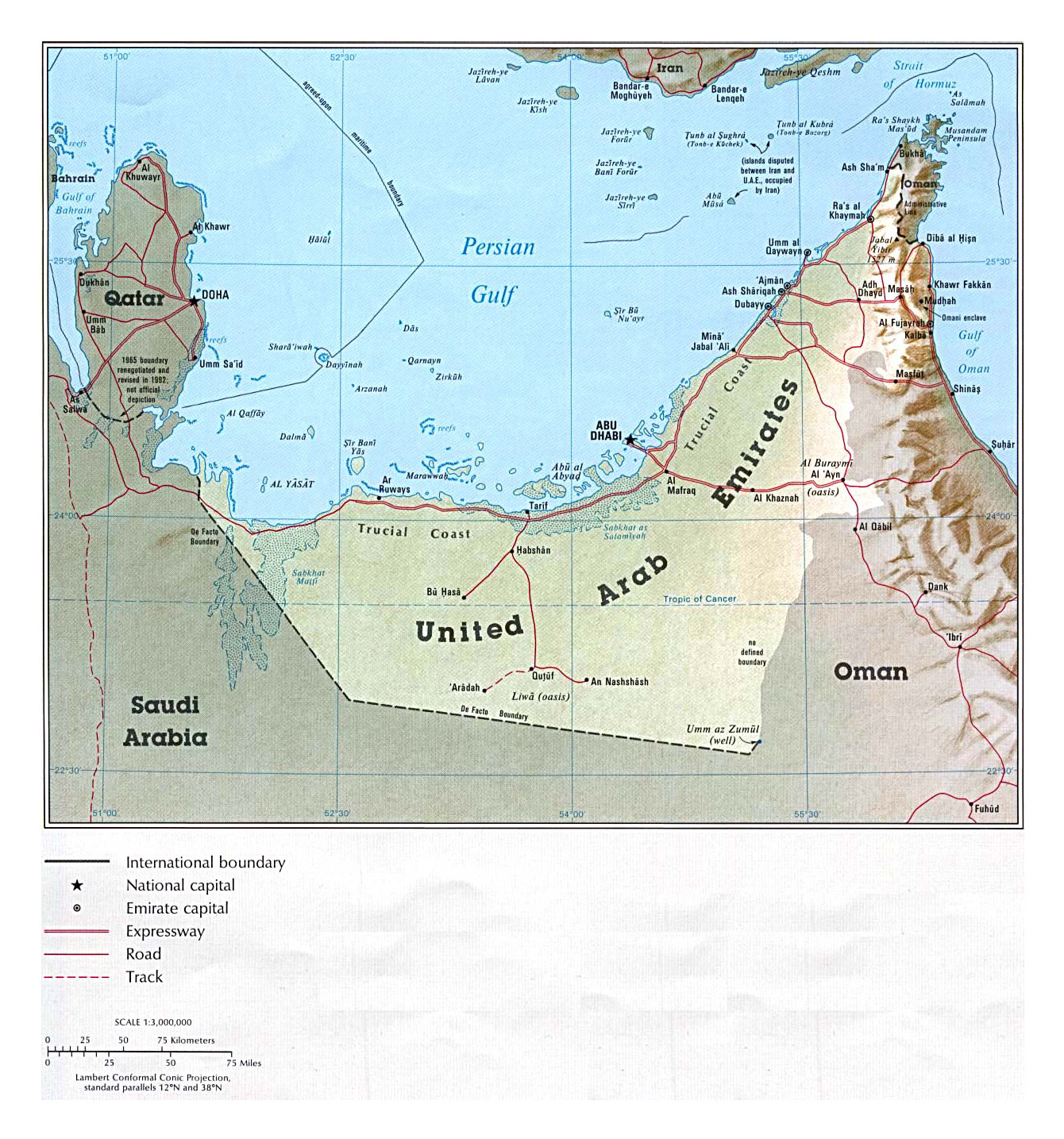 Detailed political map of UAE with relief, roads and cities - 1993 ...
