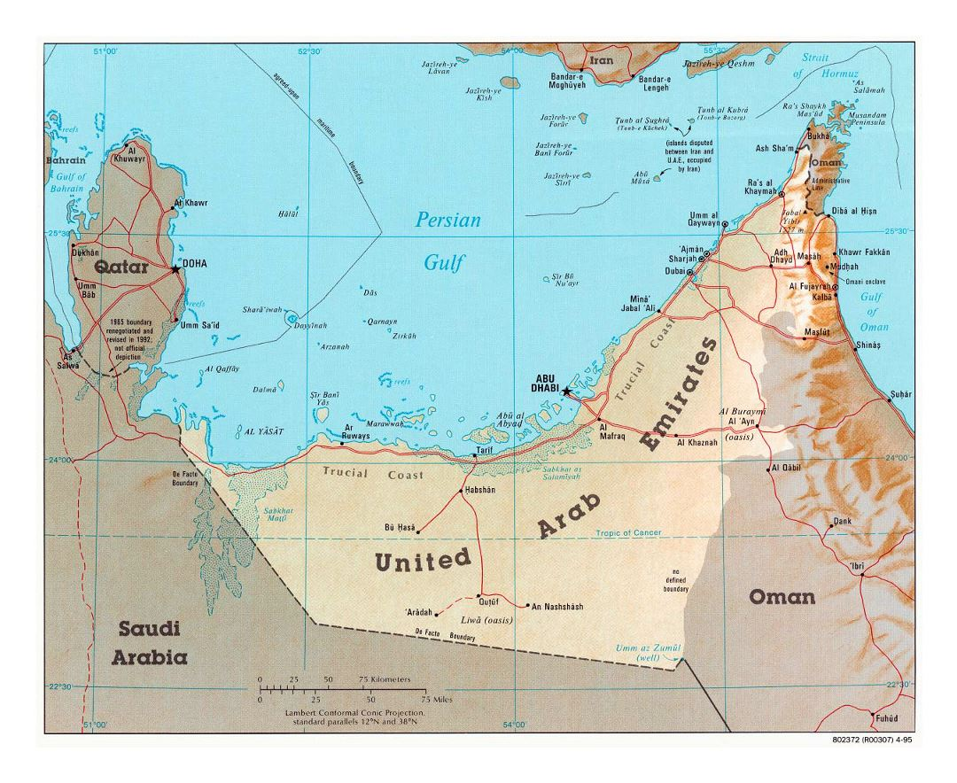 Detailed political map of UAE with relief, roads and cities - 1995