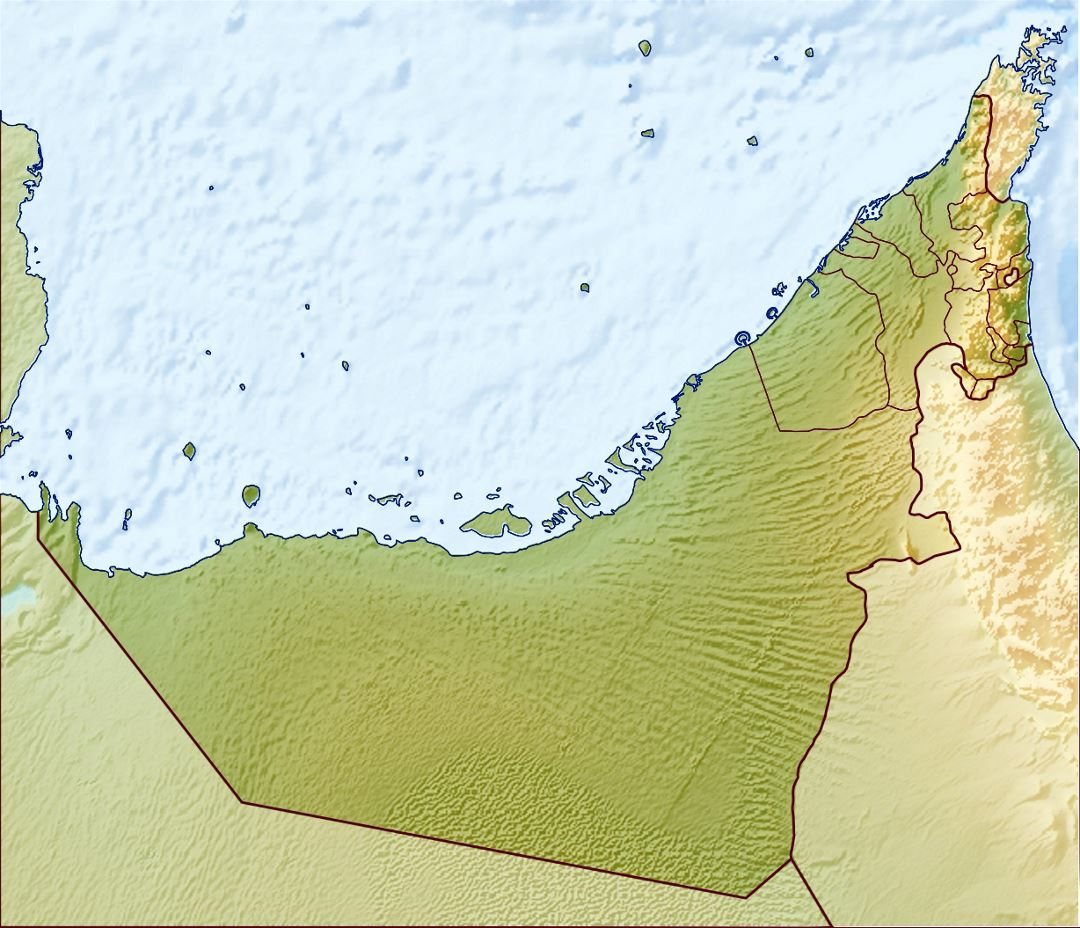 Detailed relief map of UAE