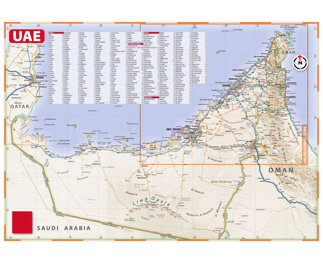 detailed road map of uae with relief all cities and other marks