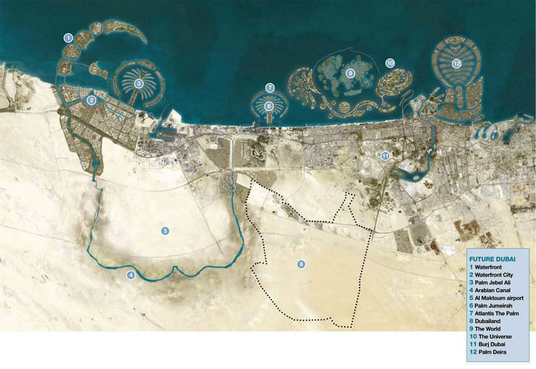 Detailed tourist satellite map of Dubai with legend