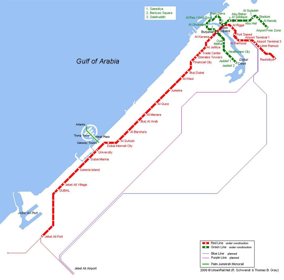 Dubai city metro map  Dubai  UAE United Arab Emirates  Asia