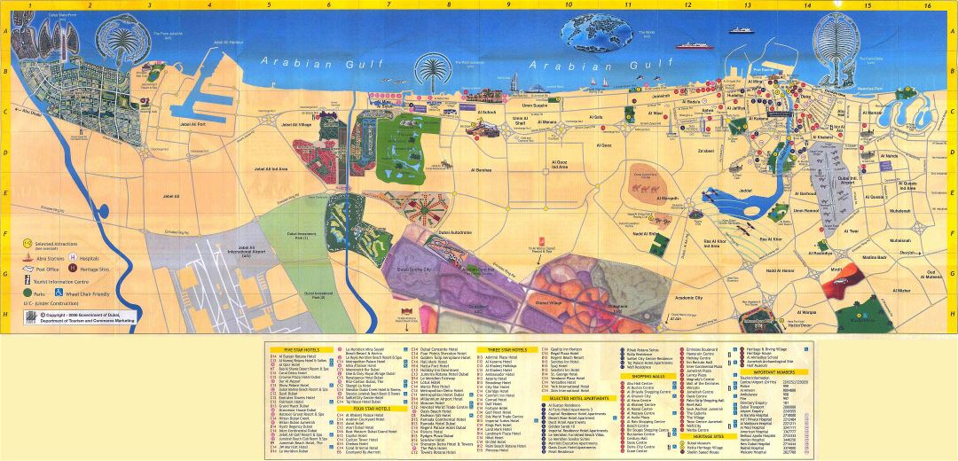 Large detailed hotels map of Dubai city