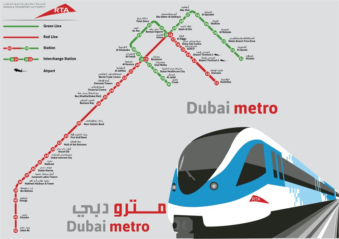 Large detailed metro map of Dubai city