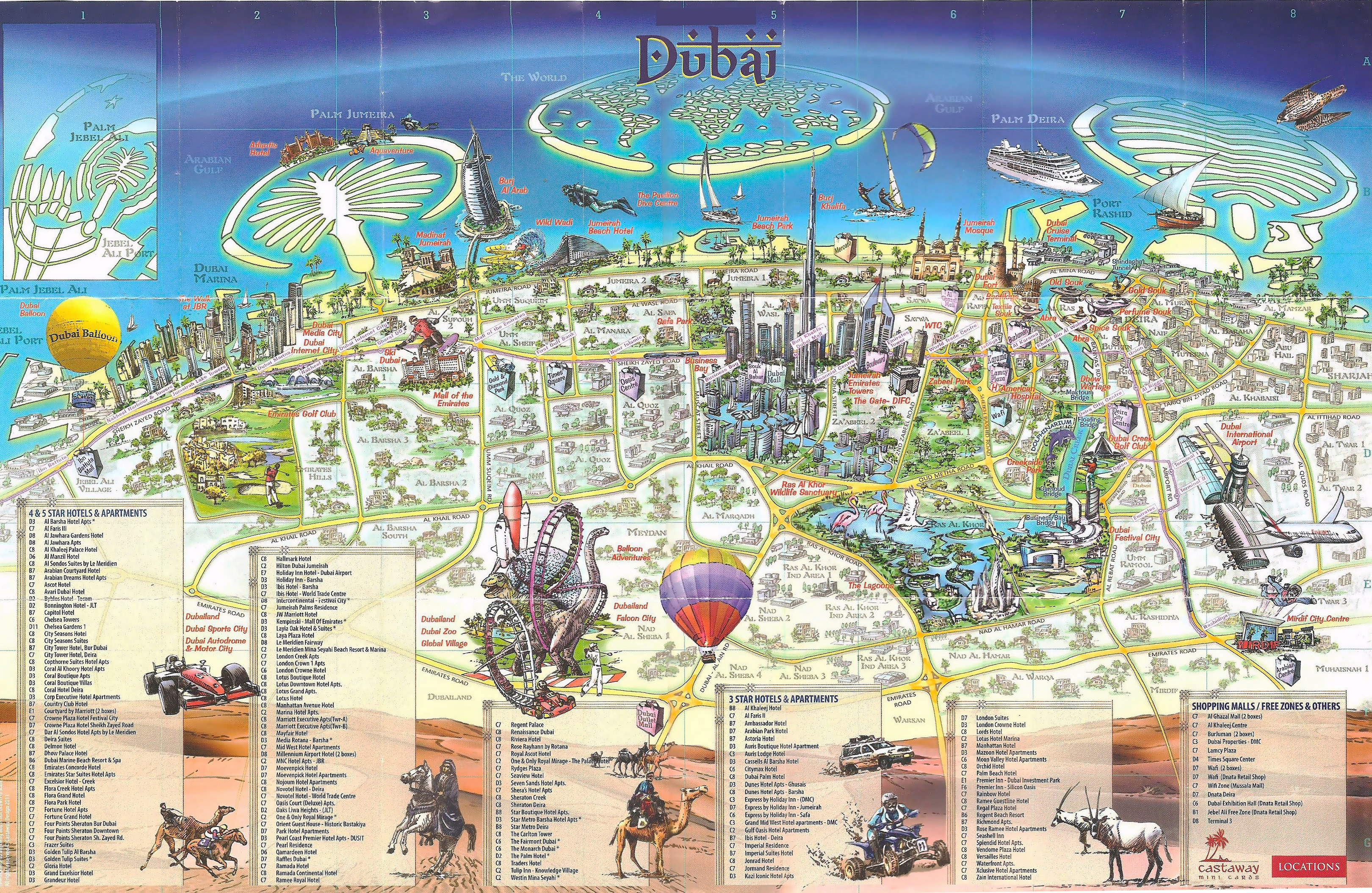 Large Detailed Tourist Map Of Dubai City Dubai Uae United Arab