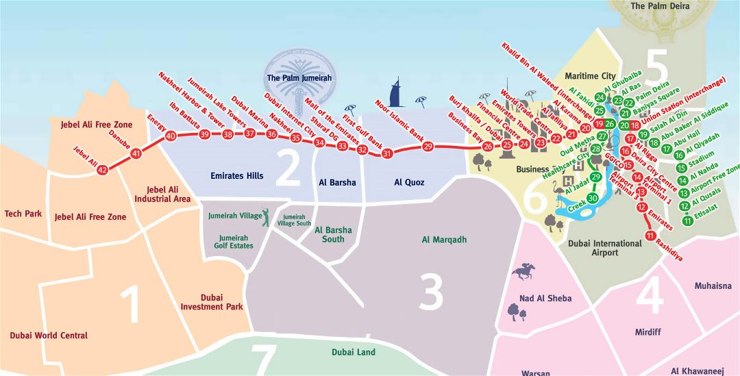 Large metro map of Dubai