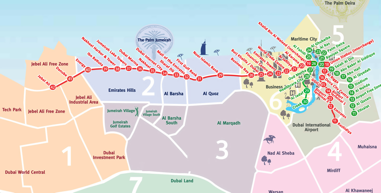 Map Of Asia Dubai.Large Metro Map Of Dubai Dubai Uae United Arab Emirates Asia
