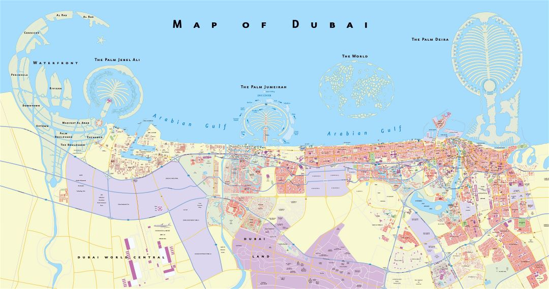 Large scale detailed road map of Dubai city
