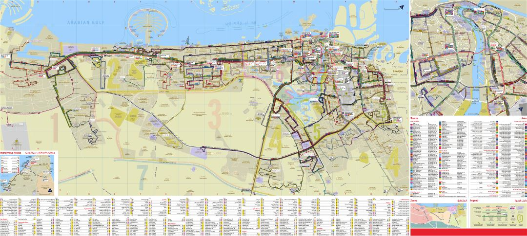 Large scale detailed tourist attractions map of Dubai